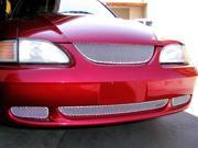 1994-1998 FORD MUSTANG GRILLE UPPER and LOWER KIT 3pc (Silver Finish)