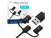 Tech Armor 3 in 1 Type C Lightning Micro USB Charging Cable Sync Charge Apple and Android 3 Foot Black mFi Certified