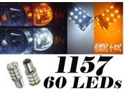 IG Tuning 60-SMD White/Amber Dual Color 1157 7528 2357 Switchback LED Bulbs For Turn Signal Parking Lights Type 2 Version