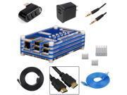 EEEKit for Raspberry Pi B+,Case Box+heatsinks+HDMI+USB+Ethernet+charger+Splitter