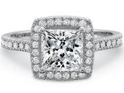 1.86 CT. Princess Real Halo Pave Diamond Engagement Ring GAL certified F color SI1 clarity  FREE ring size!
