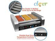 Clevr Commercial Hot Dog Machine 11 Roller and 30 Hotdog Grill Cooker Warmer 9SIA2UW6GP0703