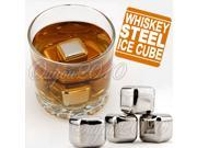 4pcs Stainless Steel Ice Cubes Glacier Rocks Neat Drink Whiskey Stones