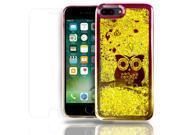 SOJITEK Apple iPhone 7 Plus Flowing Gold Stars Glitter Red / Gold Bumper Bezel Owl / Hearts Design Color Change Soft TPU Shock Proof Protective Liquid Case - in 9SIA2VT5P13312