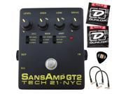 Tech 21 SansAmp GT2 Tube Amp Emulator Bundle with Limited Edition Dunlop Zorro Pick Pack, 2 Dunlop DEN-1046 Nickel Plated Steel Electric Guitar Strings (Medium, 10-46) and 2 Patch Cables
