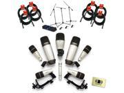 Samson SADK8 Drum Mic Kit with (3) Q Tom, Q Kick, Q Snare, (2) C01, C02H Plus 8 Mic Cables, Stand, Cable (3-Pack) & Cloth