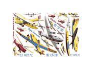 Vintage Planes Take Flight Large Wall Accent Sticker Set 9SIA62V2M97631