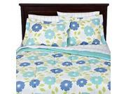 Aqua Re Biab Floral Blue Flowers Queen Size Bedding Set