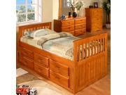 Discovery World Furniture Honey Twin Rake Bed With 3 Drawer Storage and Bottom Trundle