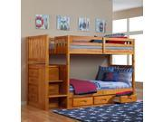 Discovery World Furniture Honey Mission Staircase Bunk Bed Twin/Twin with 3 Drawers on One Side