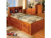 Discovery World Furniture Honey Bookcase Captains Bed Twin with 5 Drawer Chest With 6 Drawer Storage 6 on ONE side