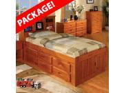 TWO Discovery World Furniture Honey Twin Bookcase Captains Beds with FREE Nightstand and Bookshelf with 6 Drawer storage (bed 1) and 12 drawer storage (bed 2)