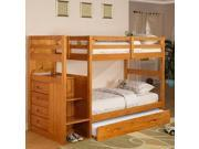Discovery World Furniture Honey Staircase Bunk Bed Ranch Twin/Twin with Twin Trundle
