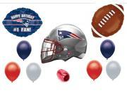 New England Patriots #1 Fan Decorating 10pc Party Balloon Pack Navy Red Silver