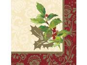 Unique Elegant Holiday 16 Pack 13 Luncheon Napkins Multicolored