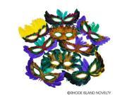 Rinco Mardi Gras Party Accessory Assorted Multicolored 50pc Feather Mask