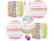 Veil Entertainment Bunny Rabbit Easter Egg Decorations 5pc Foil Balloon