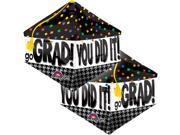 """Anagram You Did It Grad Decor 17""""x21"""" Foil Balloon Multicolored Black"""