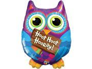 "Qualatex Hoot Hoot Hooray Grad Owl Helium Shape Supra 34"" Foil Balloon"