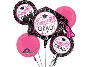 Anagram Congrats Grad Sparkling Princess 5pc Balloon Pack Multicolored Pink 9SIA2Y241D9500