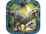 "Jurassic World Dinosaur Party Square 8 Pack 8 3/4"""" Dinner Plates"" 9SIA2Y23UM2923"