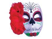 Halloween Day of the Dead Sugar Skull Spider Web Rose Mask, Black Red 9SIA2Y26B71347