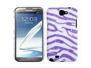 Zebra Pattern (White / Purple) Pearl Diamante Rhinestones Bling Back Protector Case Cover for Samsung N7100 (Galaxy Note II)