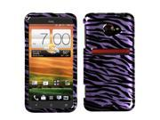 Zebra Pattern Purple / Black (2D Silver) Protector Case Cover for HTC EVO 4G LTE