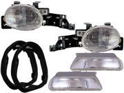 NEW 95-99 DODGE NEON 4PC W/GASKETS DIRECT REPLACEMENT HEADLAMPS HEADLIGHTS SET 9SIA2Z61AP1659