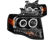 FRONT HEADLIGHT 2007-2013 FORD EXPEDITION 2007-2013 PROJECTOR BLACK CLEAR AMBER