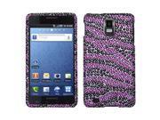 Samsung Infuse 4G I997 Hard Case Cover - Zebra Skin Purple/Black w/ Full Rhinestones