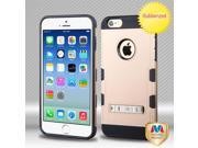 Apple iPhone 6 4.7 inch Hard Cover and Silicone Protective Case - Hybrid Rubberized Gold/ Black TUFF Trooper With Metal Stand