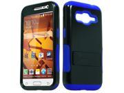 Samsung Galaxy Core Prime G360 Hard Cover and Silicone Protective Case - Hybrid Black/ Dark Blue Infuse Prime With Black Stand