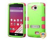 LG Tribute LS660 Hard Cover and Silicone Protective Case - Hybrid Pearl Green/Electric Pink Tuff w/ Metal Stand