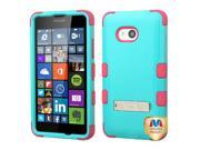 Microsoft Nokia Lumia 640 Hard Cover and Silicone Protective Case - Hybrid Teal Green/Electric Pink Tuff w/ Metal Stand + Tool
