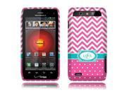 Motorola Droid 4 XT894 Hard Case Cover - Hot Pink Love Monogram 2D Glossy