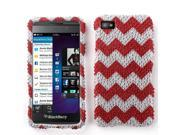 BlackBerry Z10 Hard Case Cover - Red Chevron Zig Zag Pattern With Full Rhinestones 9SIA2ZJ3MK7608