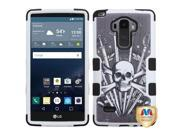 LG G Stylo LS770 G4 Note Hard Cover and Silicone Protective Case - Hybrid Sword and Skull/ Black Tuff