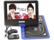 Ship frome US 9.5'' Portable 16:9 180° Rotating Swivel Screen CD VCD DVD PlayerSupport SD,MS,MMC,USB - Blue