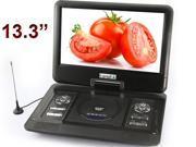 "13.3"" Handheld Portable DVD Player Game+USB+SD+MP4 Swivel&Flip analogue TV"