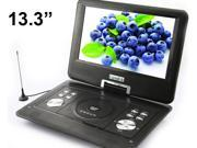 "13.3"" Handheld Portable DVD Player LCD Screen Display CD VCD MP3 MP4 USB Home Theater black"