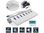 7 Port Aluminum USB 3.0 HUB 5Gbps High Speed +AC Power Adapt