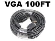 Image of 100FT VGA 15PIN SVGA BLACK ADAPTER Monitor M/M Male To Male Cable CORD FOR PC TV