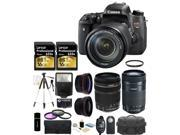 Canon EOS Rebel T6s 24.2MP CMOS Digital SLR Camera with EF-S 18-135mm IS STM Lens + Canon EF-S 55-250mm IS STM Lens + 58mm Wide-Angle + Telephoto Lenses + 2x 16GB Cards + Case + Flash + Tripod + Grip+