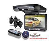 "XTRONS Black 9"" 800*480 Car Roof Mount Flip Down Monitor DVD Player USB FM Game Disc IR Headset"