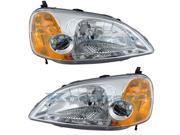 2001-2002-2003 Honda Civic 2-Door Coupe DX HX EX LX Headlight Headlamp Front Head Light Lamp Set Pair Right Passenger AND Left Driver Side (01 02 03)