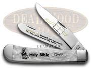 CASE XX Holy Bible White Pearl Trapper Pocket Knives