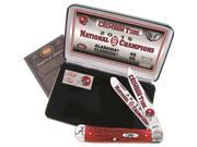 CASE XX Alabama 2015 National Football Champions Red Bone Trapper Pocket Knife