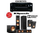 Onkyo TX-RZ710 7.2-Channel Network A/V Receiver + Klipsch RP-280FA + Klipsch RP-450CA + Klipsch RP-140SA + Klipsch R-115SW - 5.1 Dolby Atmos Home Theater Package
