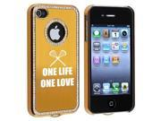 Apple iPhone 4 4S 4G Gold S730 Rhinestone Crystal Bling Aluminum Plated Hard Case Cover One Life One Love Lacrosse